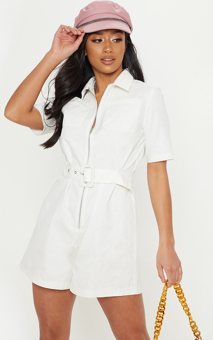 Petite White Belted Utility Playsuit 4