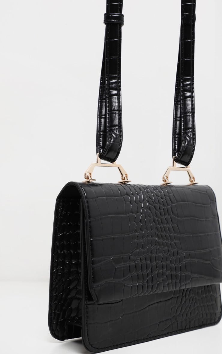 Black Croc Envelope Cross Body 3