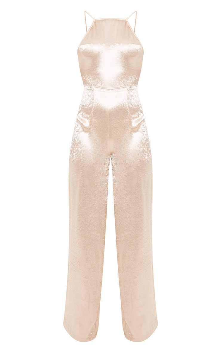 Daliah Gold Hammered Satin 90's Neck Wide Leg Jumpsuit 3