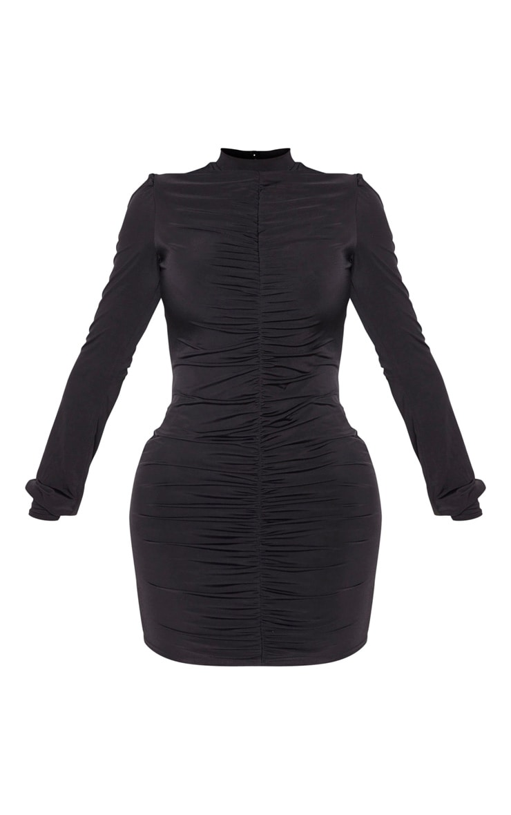 Shape Black Slinky Ruched Front High Neck Bodycon Dress 3