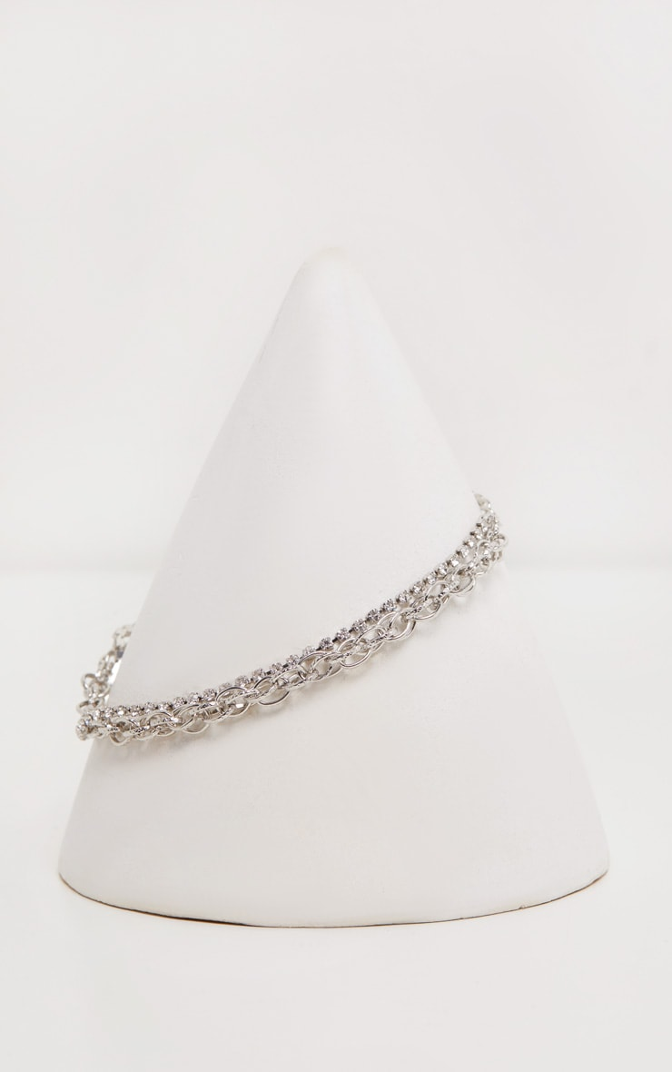 Silver Circle And Diamante Double Line Chain Anklet 2