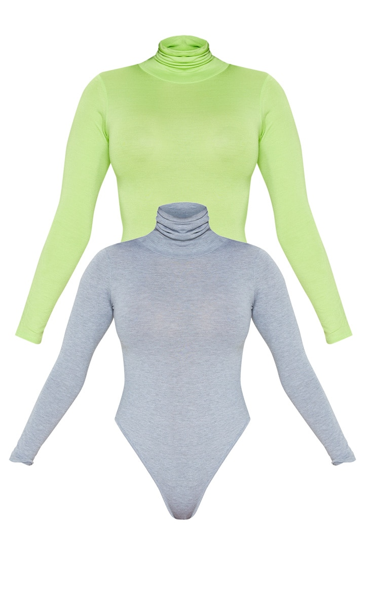 Basic Grey & Lime 2 Pack Roll Neck Long Sleeve Bodysuit 3