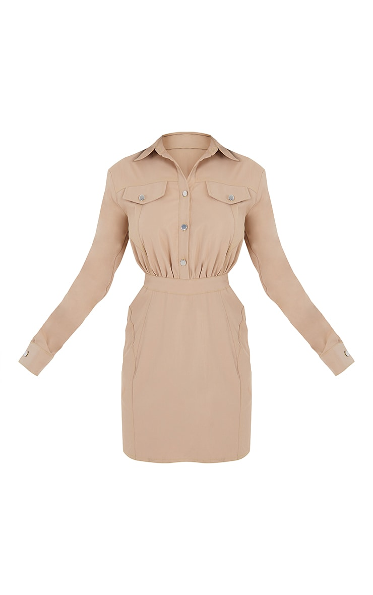 Stone Woven Button Pocket Detail Contrast Stitching Bodycon Dress 5