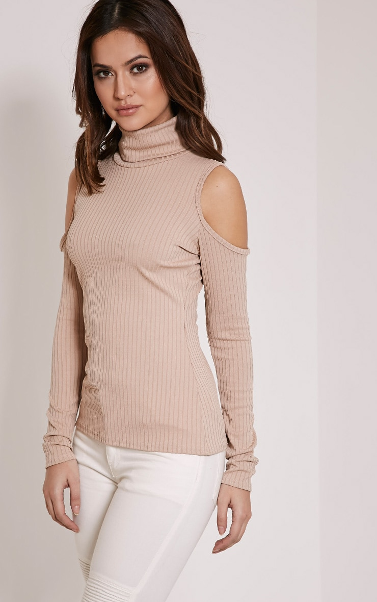 Valentina Stone Ribbed Cold Shoulder Roll Neck Top 3