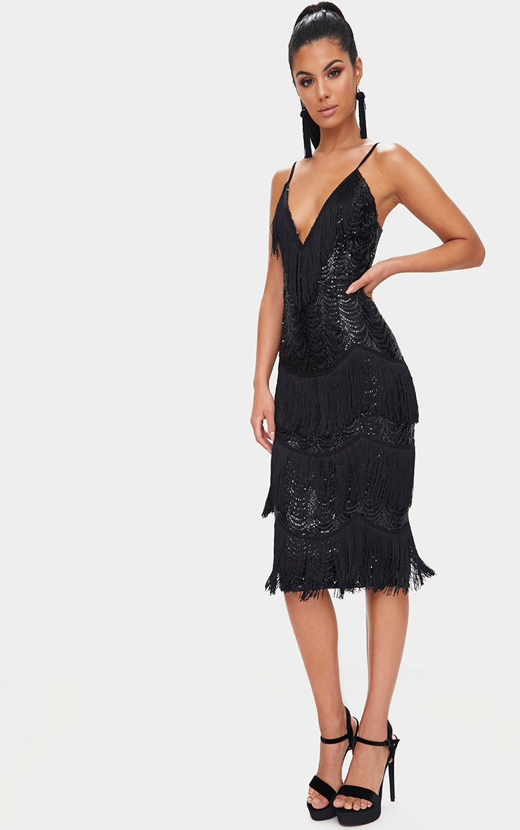 Black Sequin Tassel Detail Strappy Midi Dress