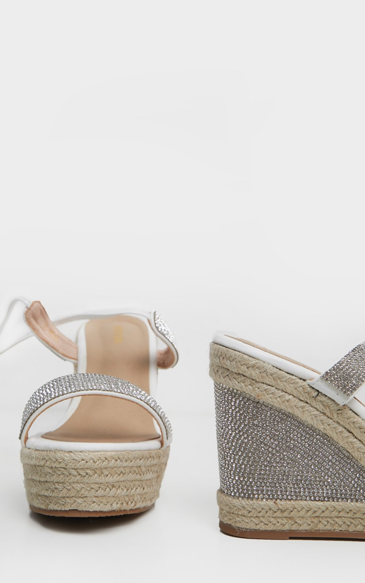 White Diamante Ankle Tie High Wedge 5