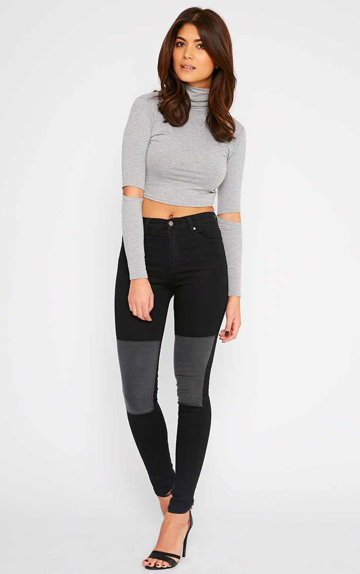Abigail Black Grey Knee Patch Jeans 1