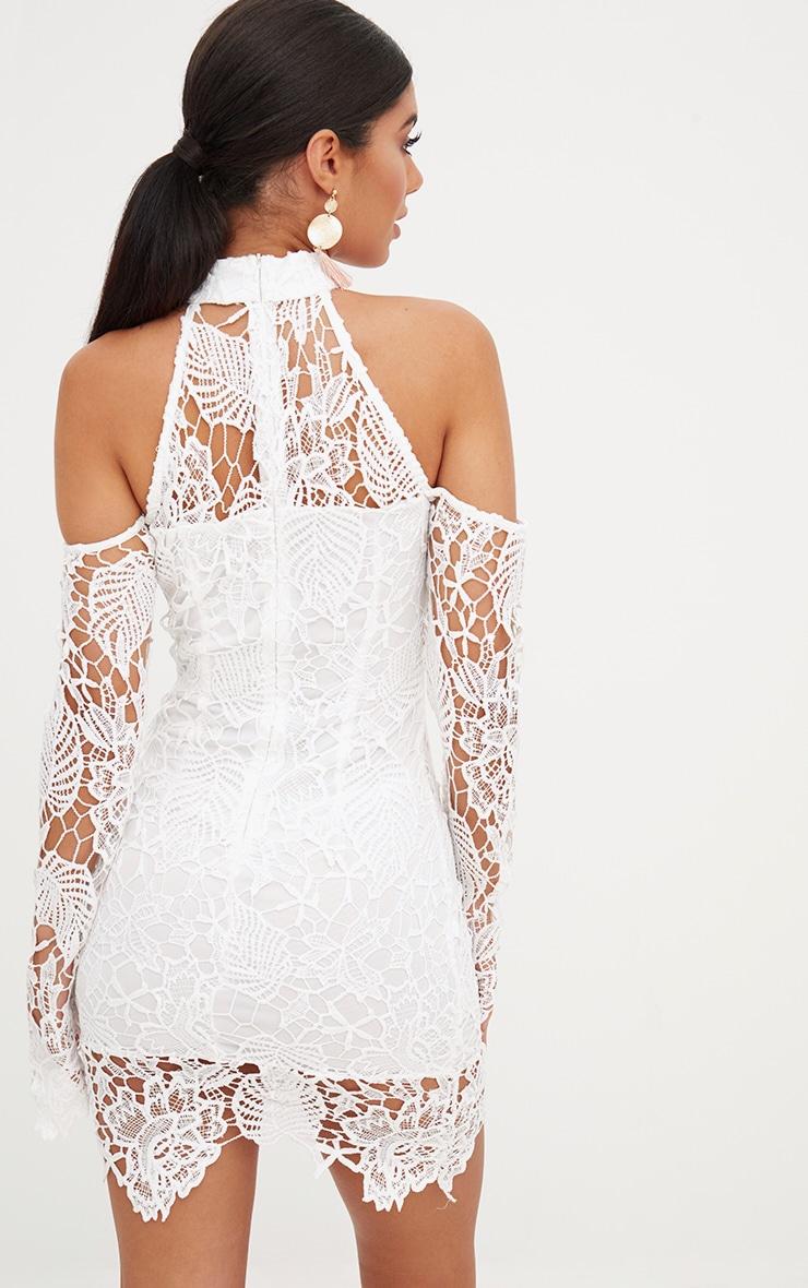 White High Neck Cold Shoulder Lace Bodycon Dress 2