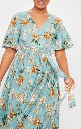 Sage Green Floral Pleated Midi Dress 4
