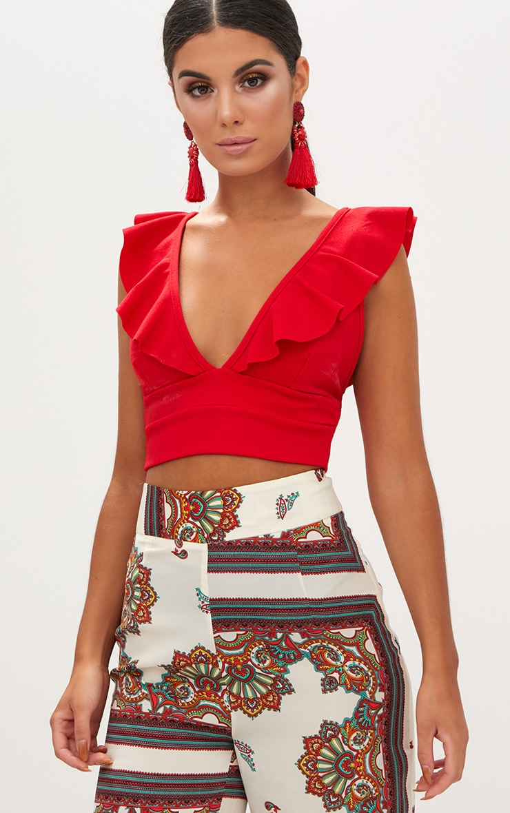 Red Frill Edge Plunge Crop Top  1