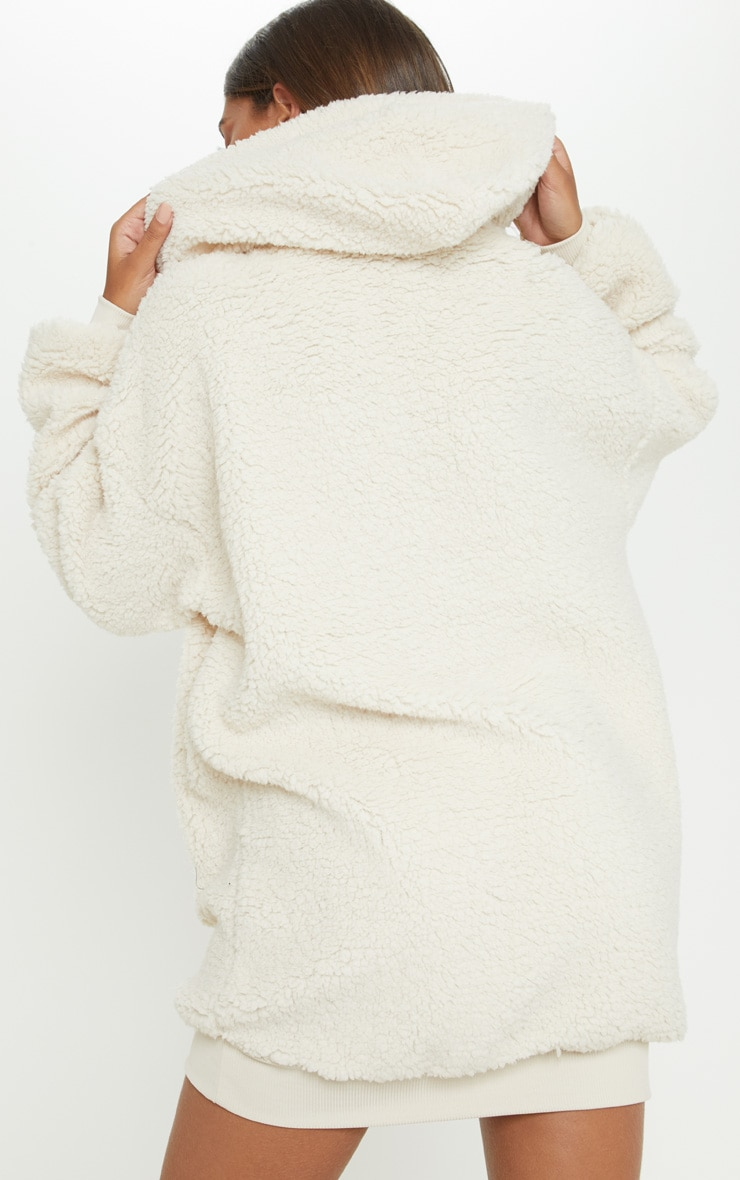 Cream Borg Zip Front Jumper Dress 3