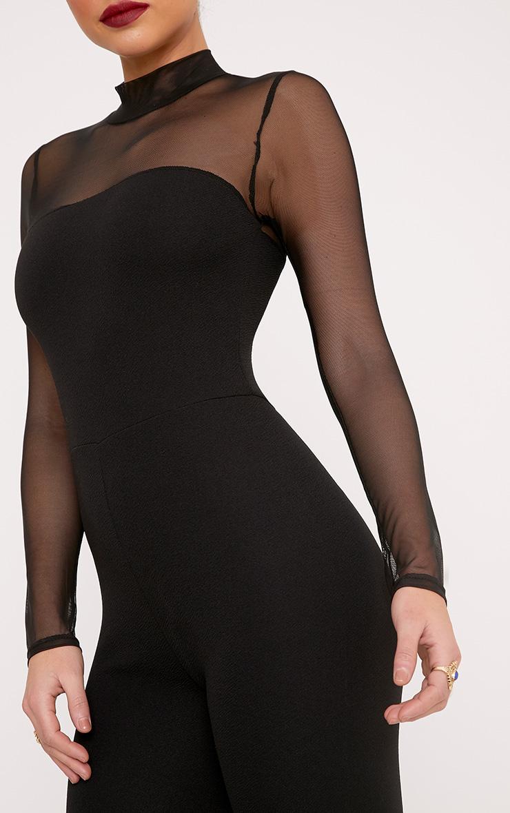 Abriana Black Mesh Top Jumpsuit  5