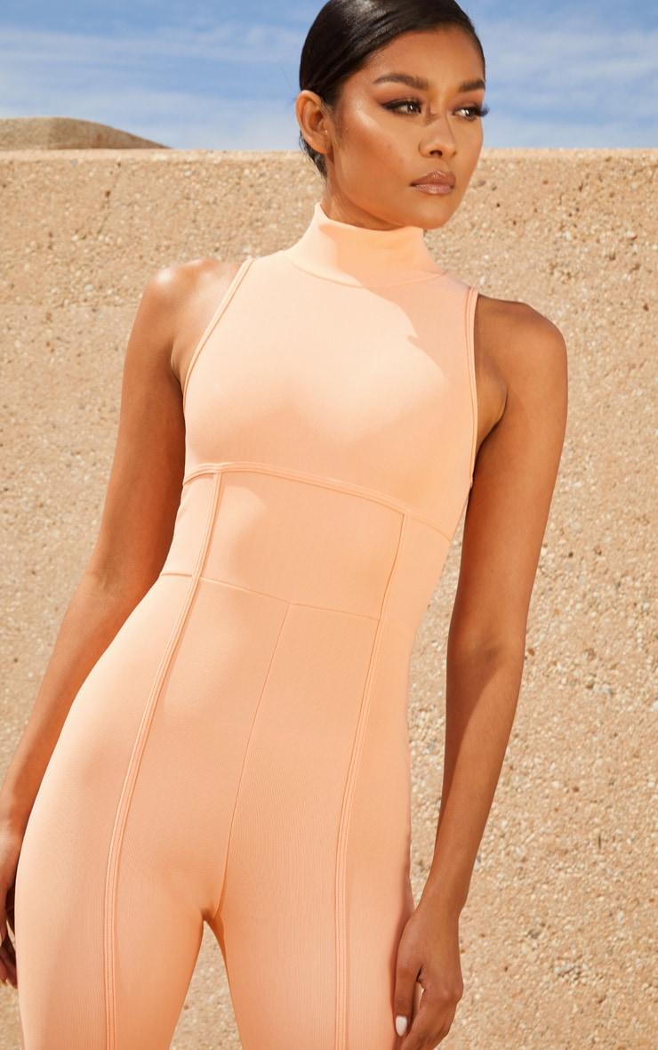 Peach Second Skin High Neck Binding Detail Jumpsuit 5