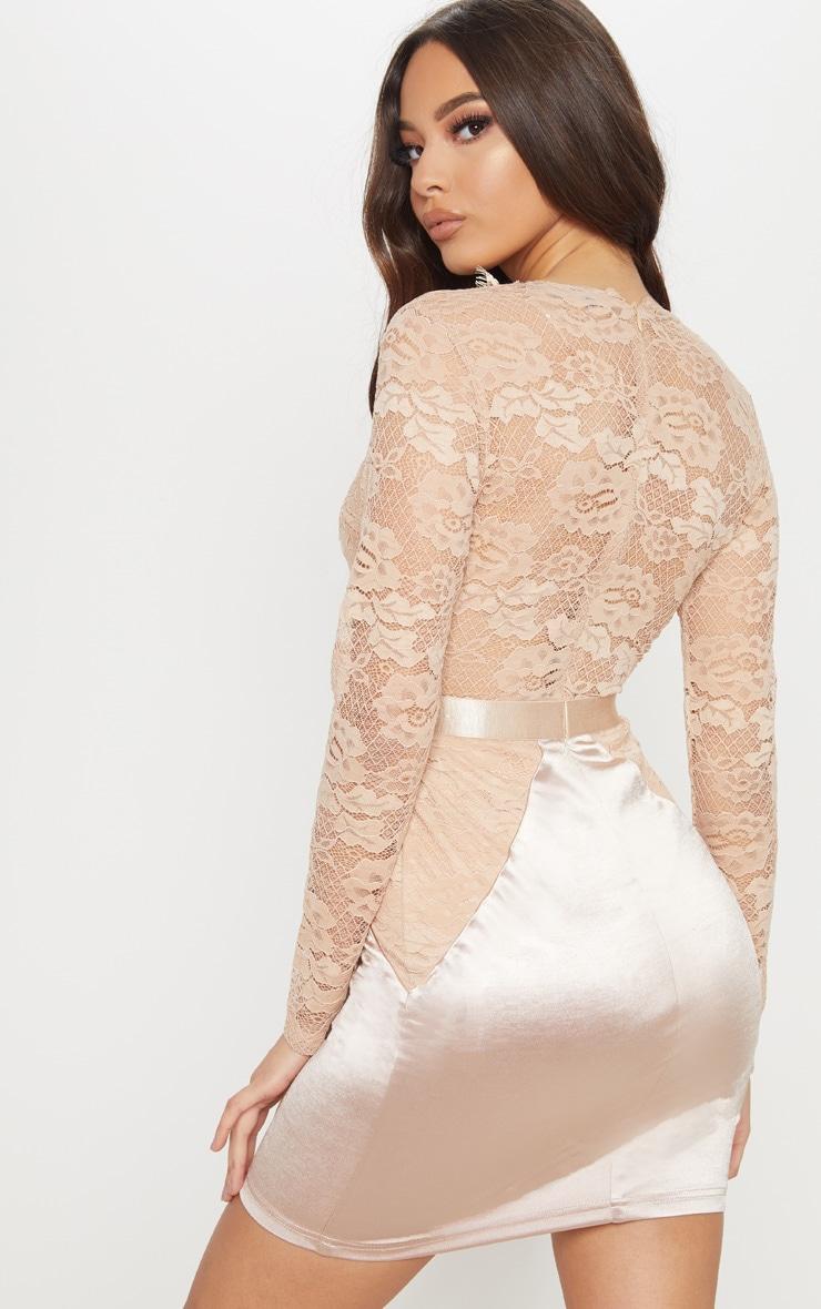 Champagne Lace Top Satin Bodycon Dress 2