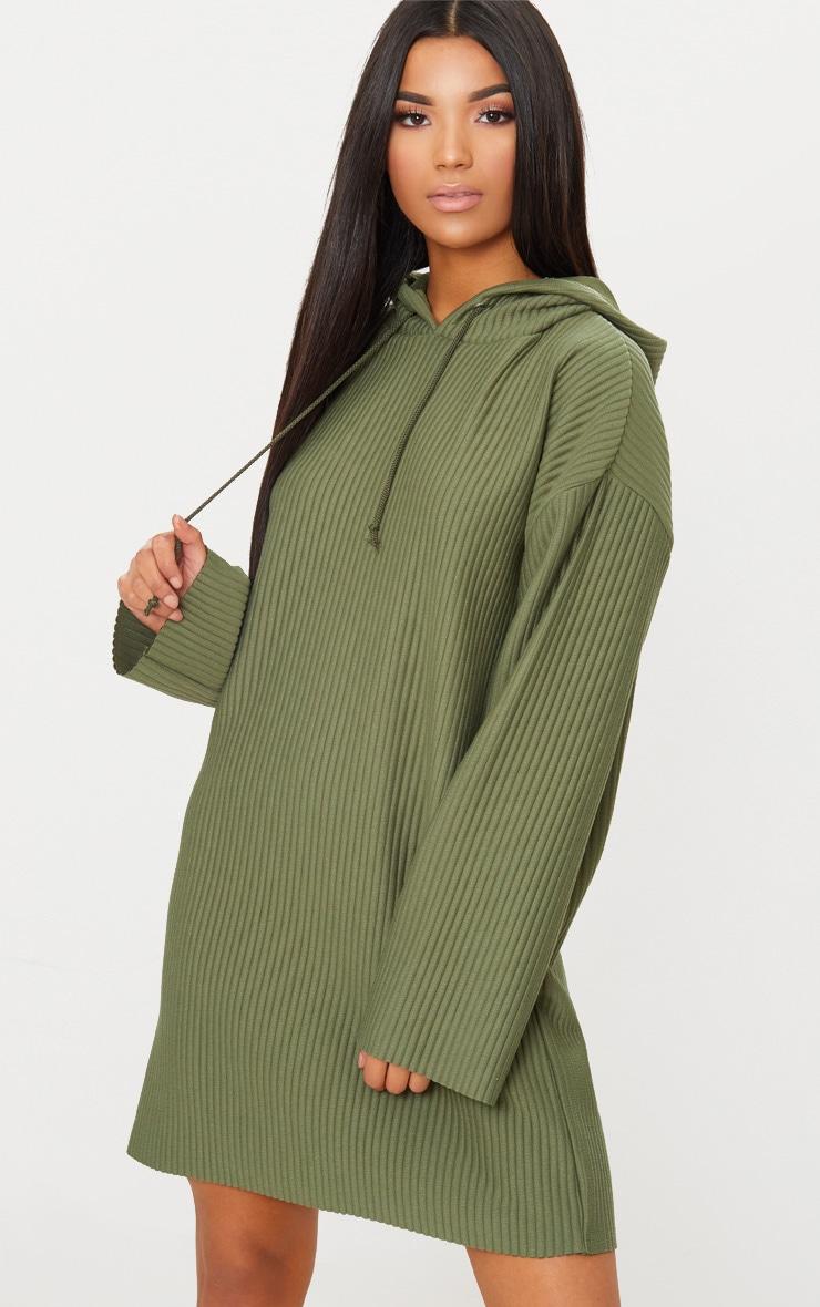 Khaki Ribbed Hooded Sweater Dress 4