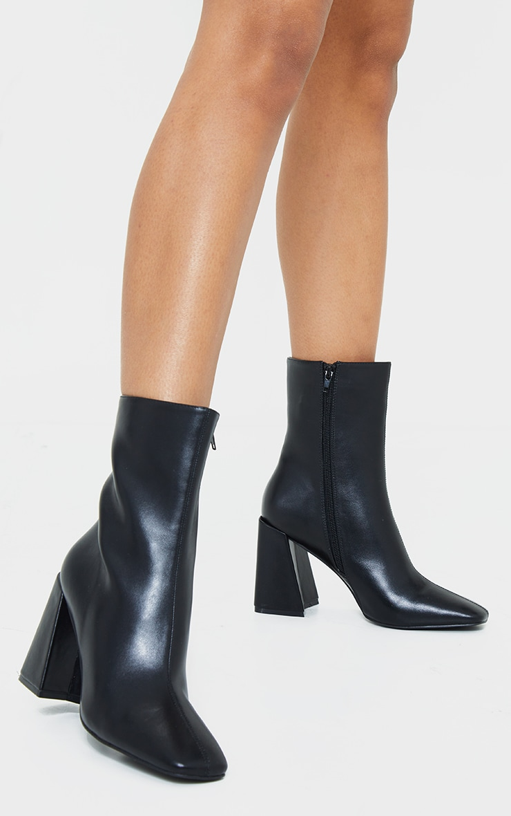 Black Pu High Flare Block Heeled Boots 1