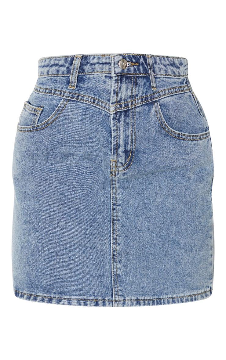 Vintage Wash V Panel Denim Skirt 6