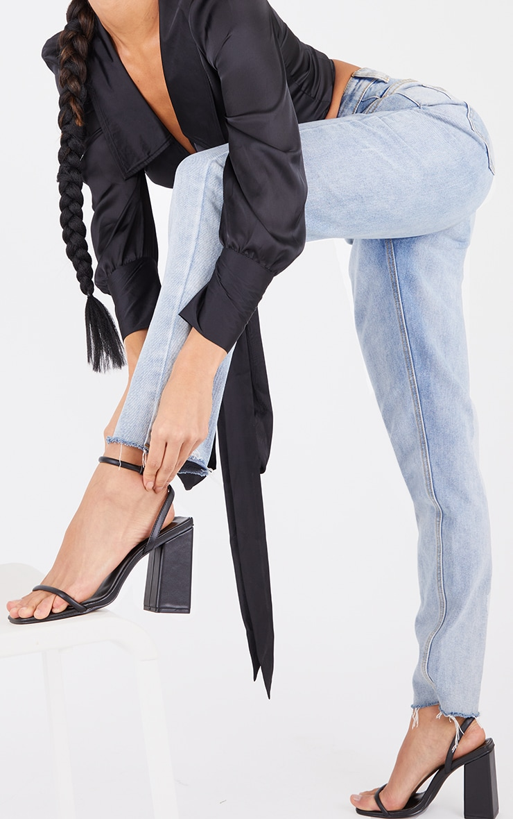 Black Barely There Block Heeled Sandals 1