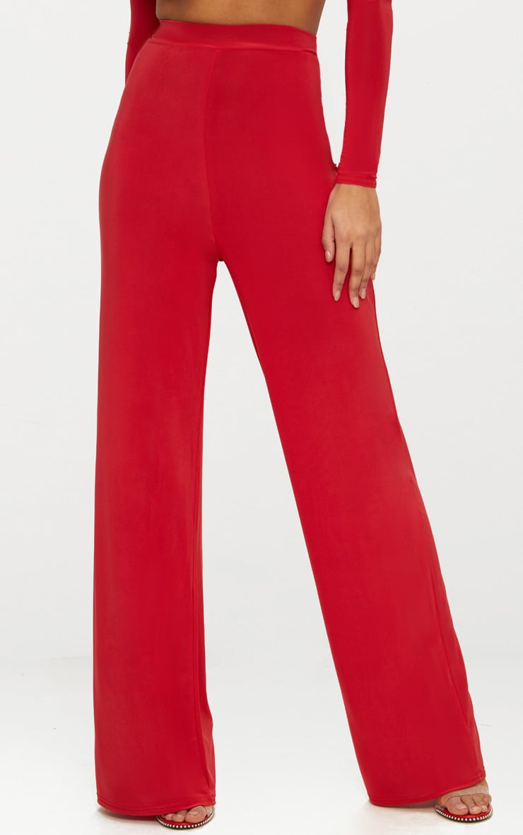 Red Slinky Wide Leg Pants  2