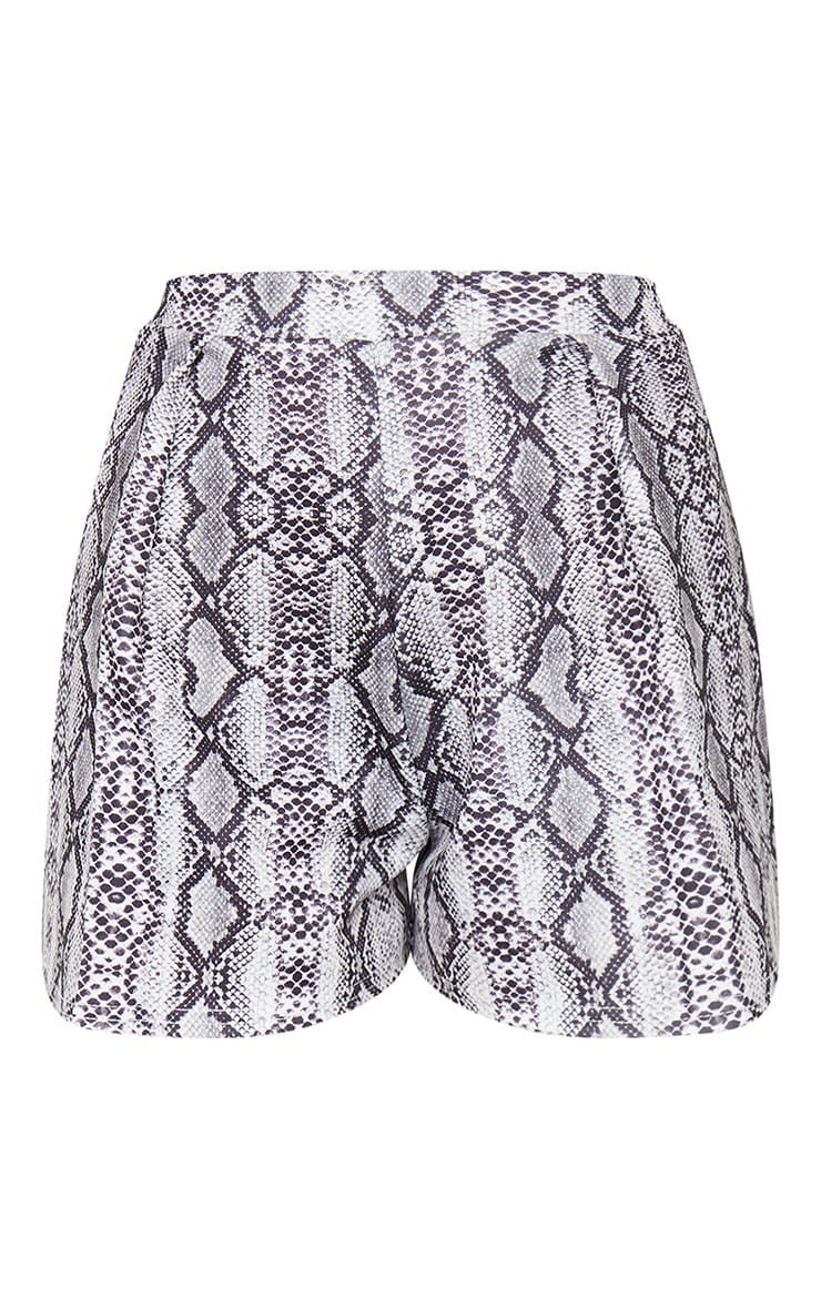 Grey Snake Print Pleat Front Floaty Shorts 6