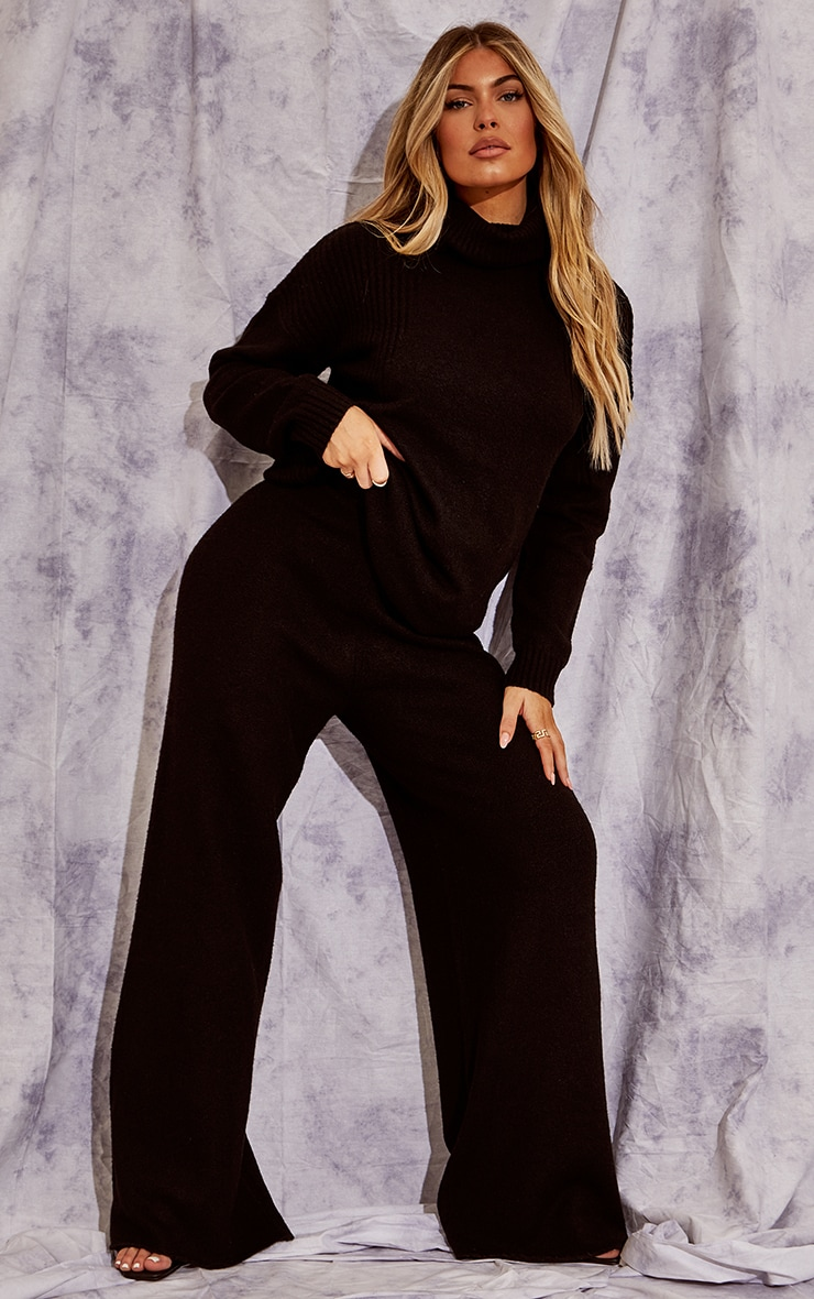 Recycled Black Knitted Slouchy Roll Neck Sweater 3
