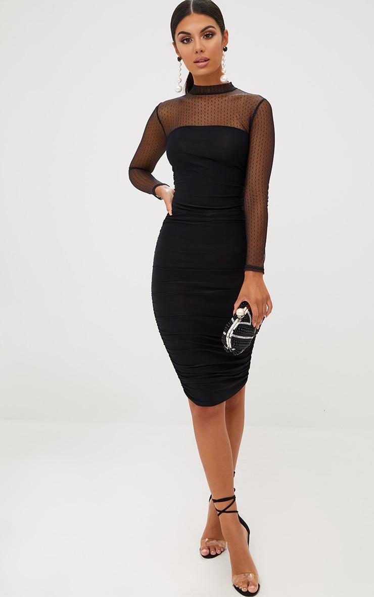 Black Dobby Mesh Bodycon Dress 5