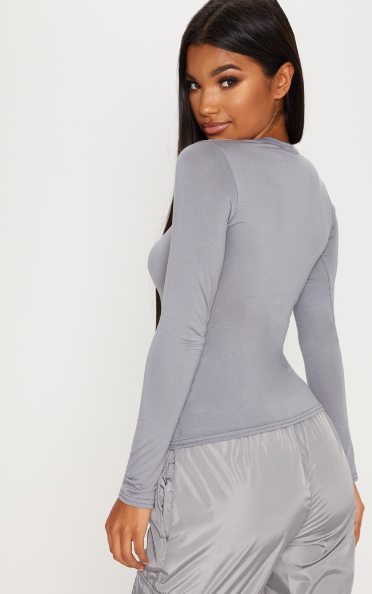 Basic Light Grey Long Sleeve Fitted T Shirt  2