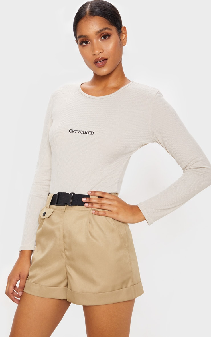 Sand Get Naked Embroidered Rib Crew Neck Long Sleeve Bodysuit 2
