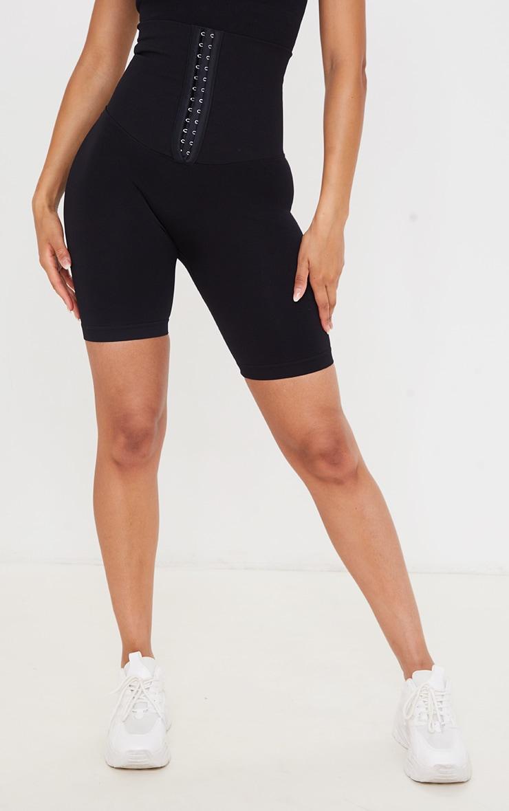 PRETTYLITTLETHING Black Seamless Waist Trainer Bike Shorts 2