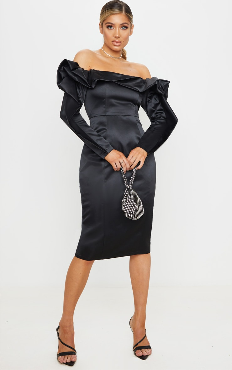 Black Bonded Satin Bardot Ruffle Midi Dress 4