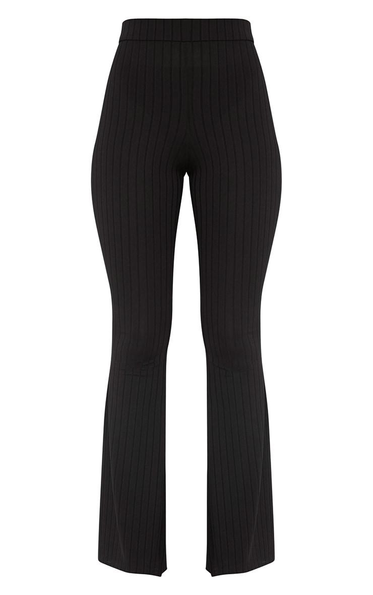 Soreya Black Ribbed Inside Split Wide Leg Trousers  3