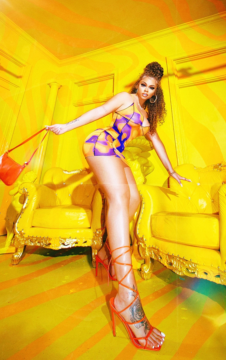 Orange Tie Dye Sheer Mesh Overlock Stitch Strappy Bodycon Dress