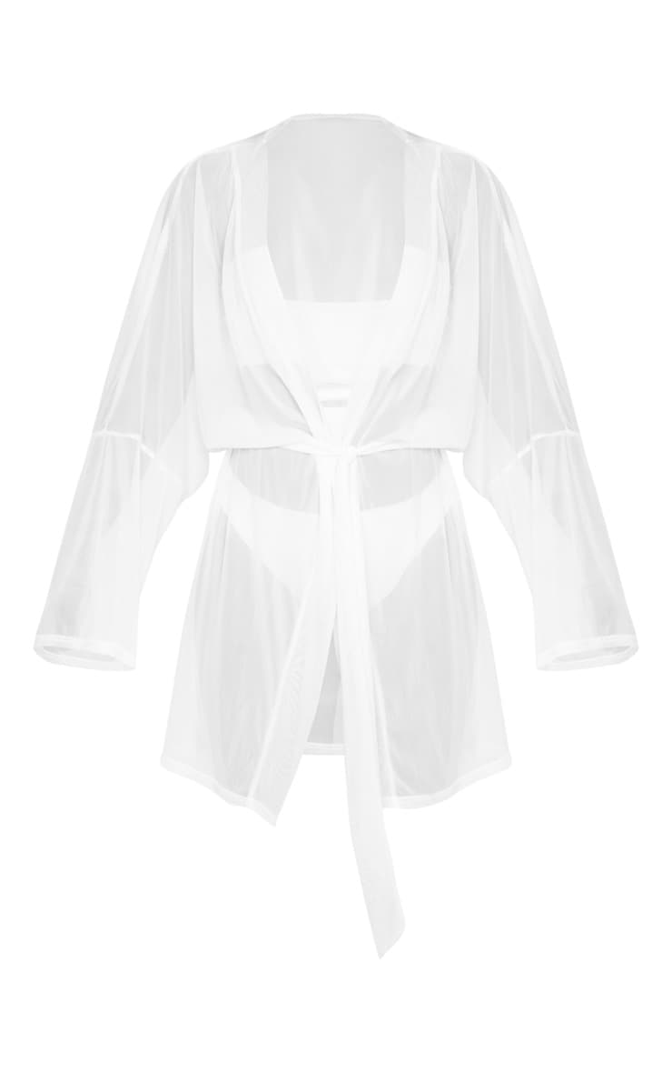 White Tie Waist Mini Beach Kimono 5