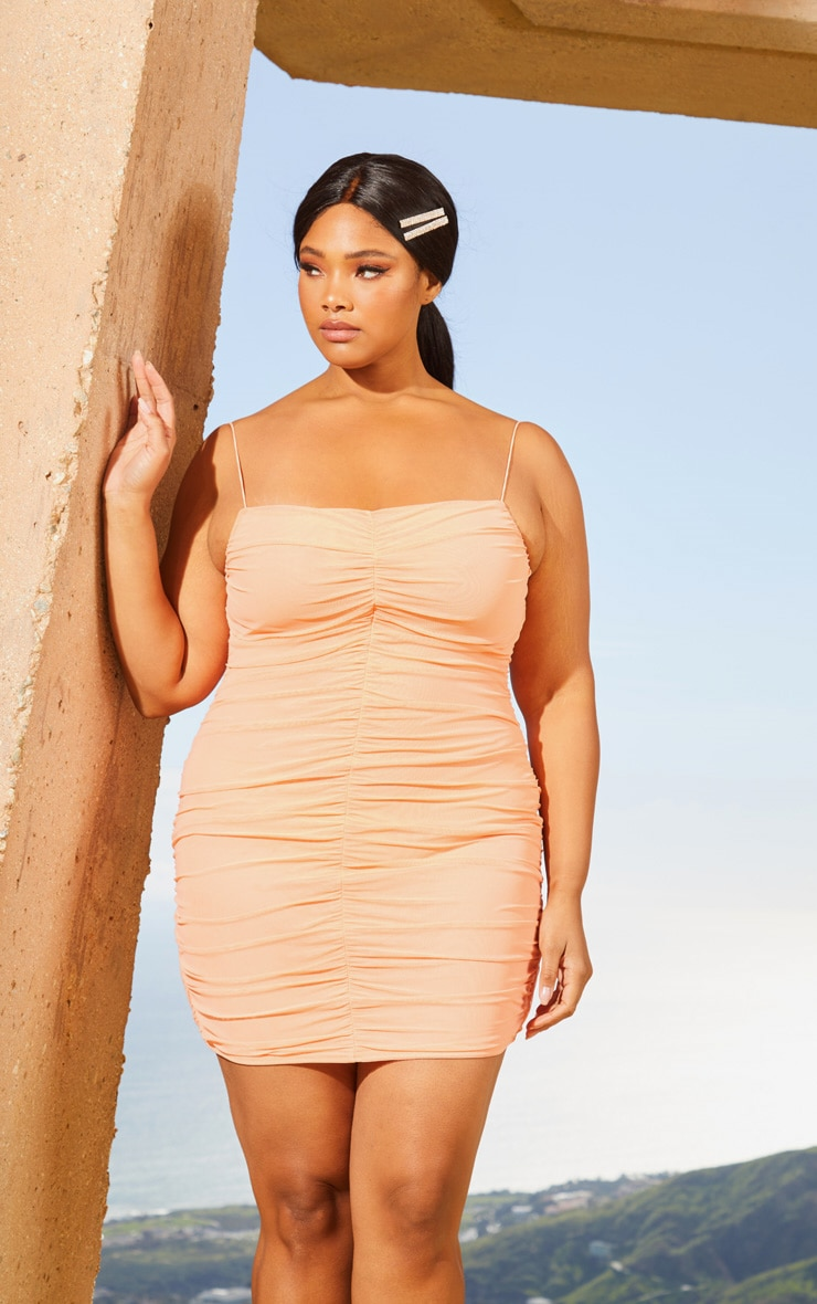 Plus Peach Second Skin Ruched Mesh Bodycon Dress 1