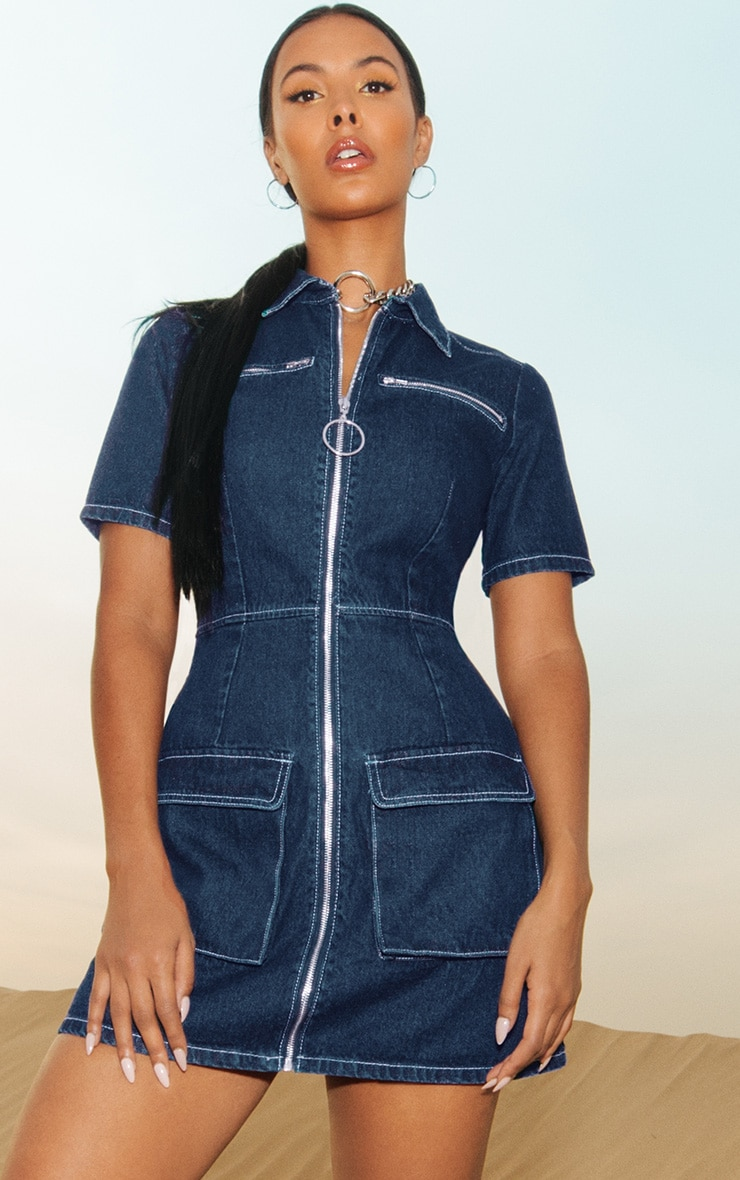 Mid Wash Zip Detail Denim Bodycon Dress 1