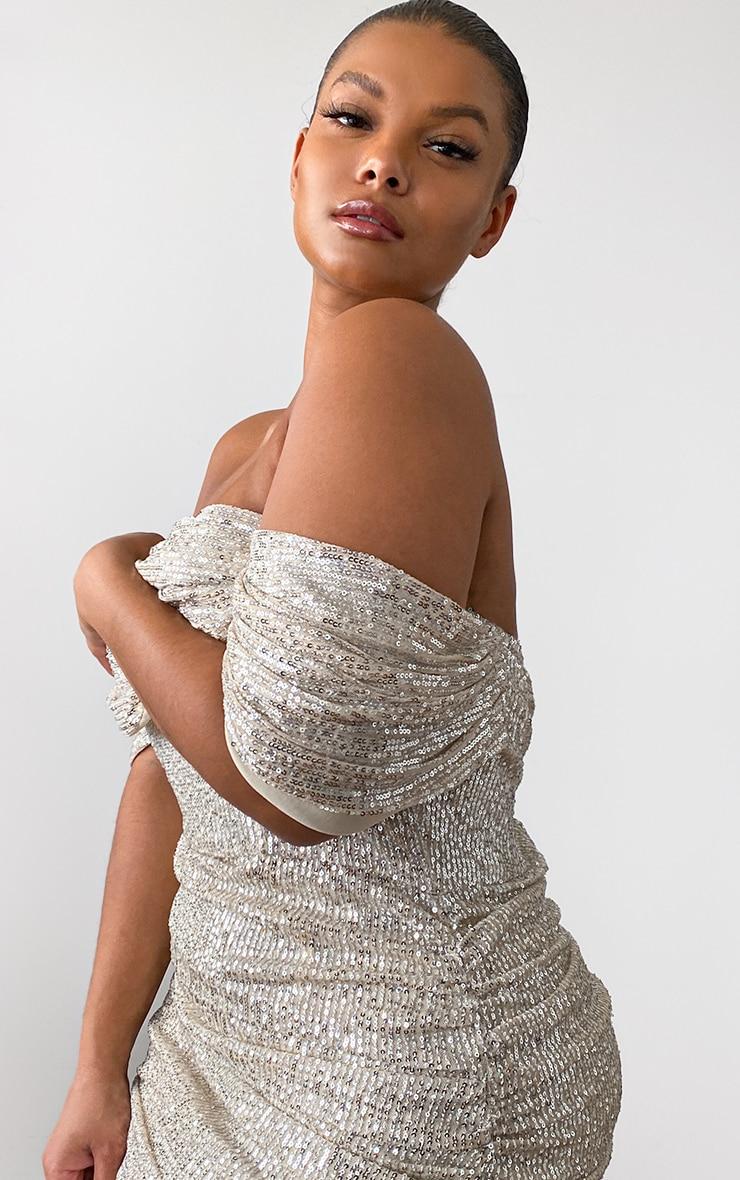 Plus Cream Sequin Bardot Bodycon Dress 4
