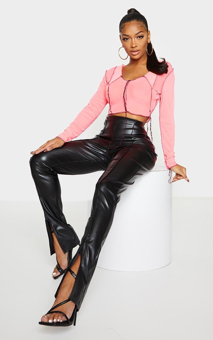 Shape Pink Mesh Overlock Seam Collar Detail Crop Top 3