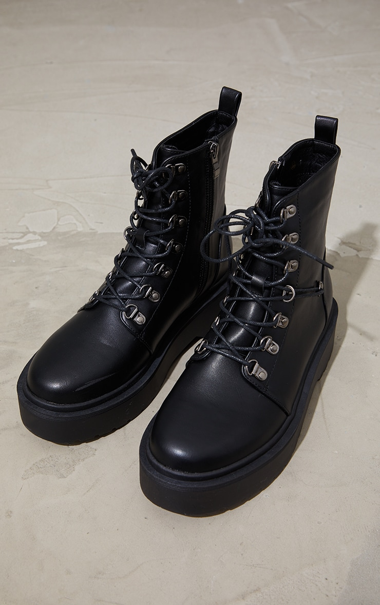 Black Pu Double Sole Eyelet Lace Up Boots 4