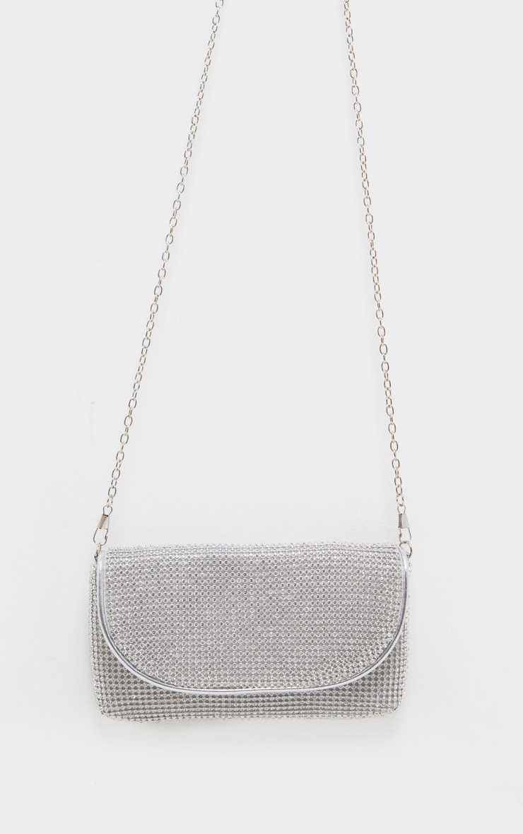 Silver Diamante Mini Clutch Bag  4