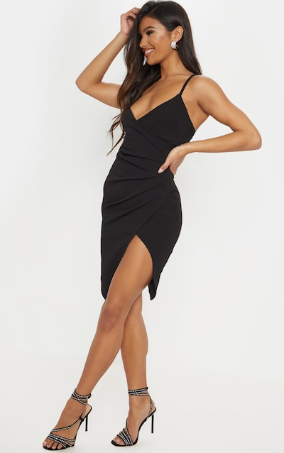 Lauriell Black Wrap Front Crepe Midi Dress