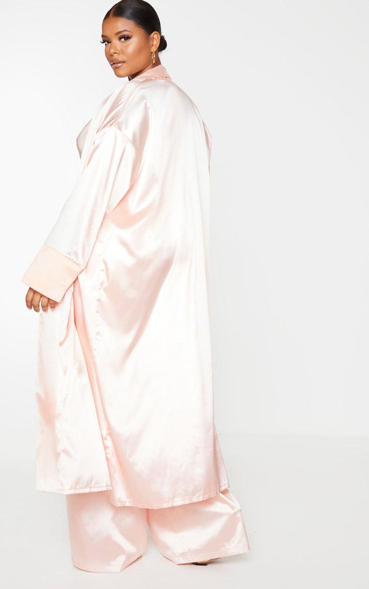 Plus Blush Satin Contrast Detail Kimono 3