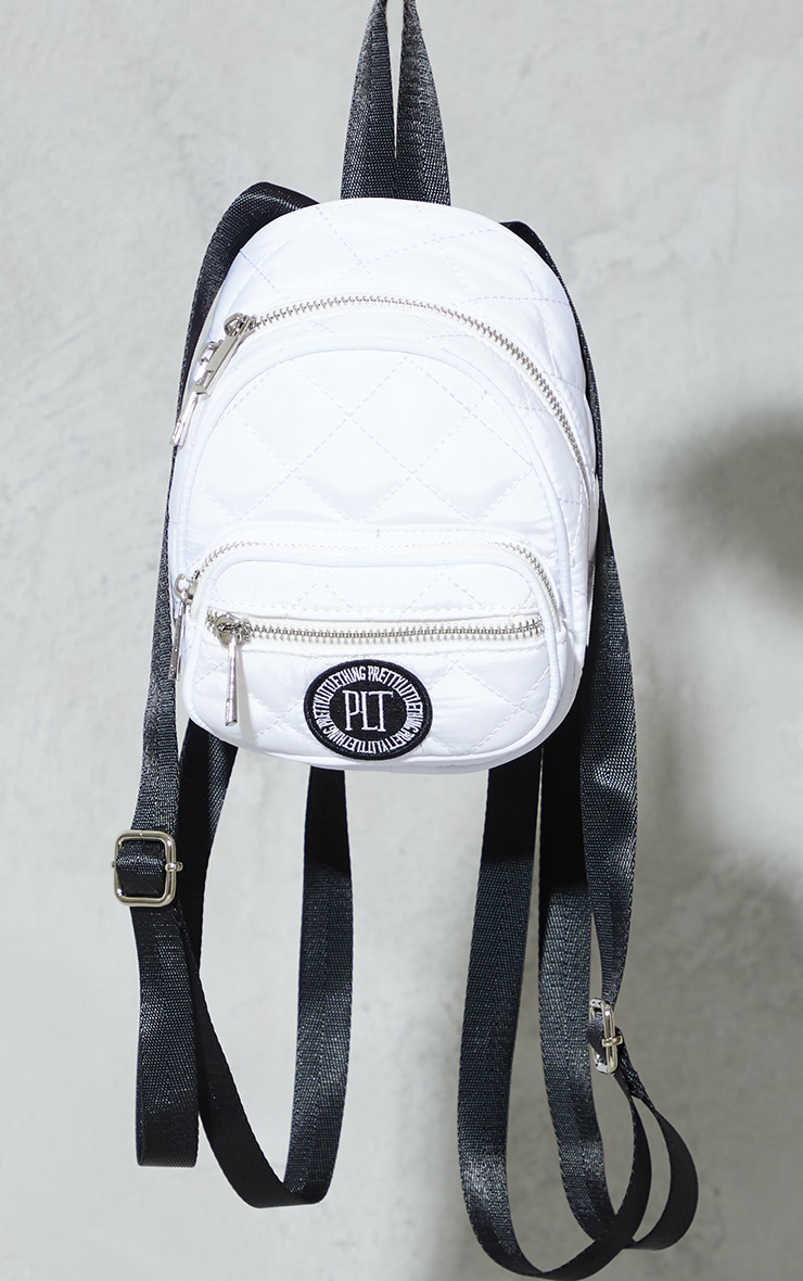 PRETTYLITTLETHING White Quilted Badge Mini Backpack 3