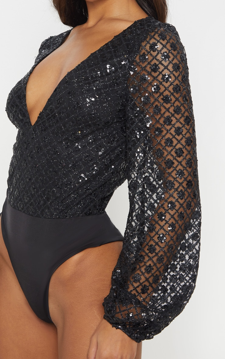 Black Plunge Glitter Volume Sleeve Bodysuit 6