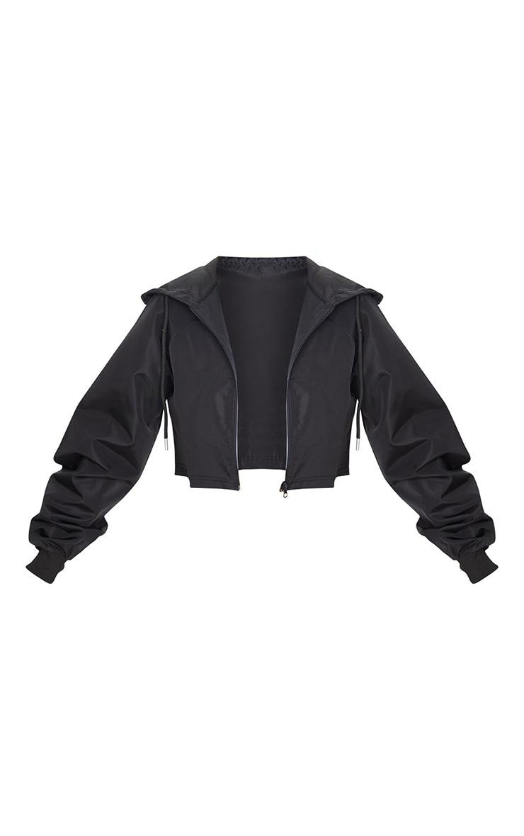 Black Cropped Hooded Toggle Windbreaker 5