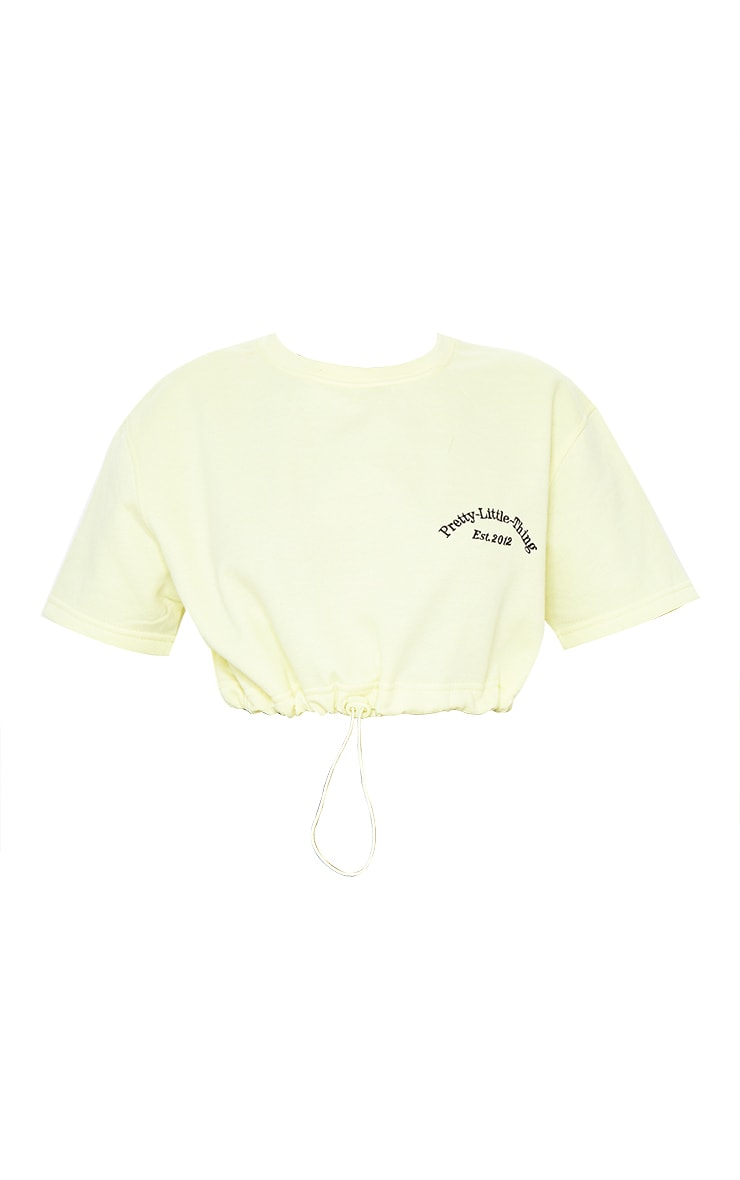 PRETTYLITTLETHING Pale Yellow Embroidered Short Sleeve Toggle Sweatshirt 5
