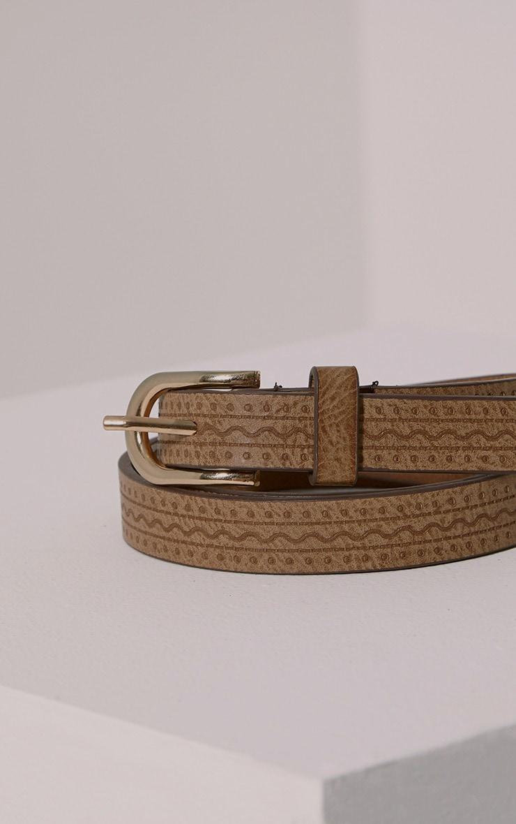 Lissi Tan PU Embossed Skinny Belt 1