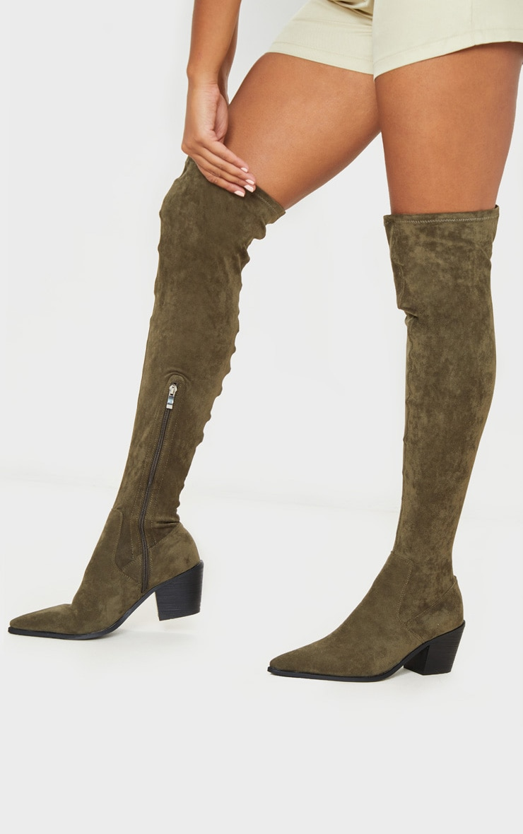 Khaki Thigh High Western Sock Boot 2