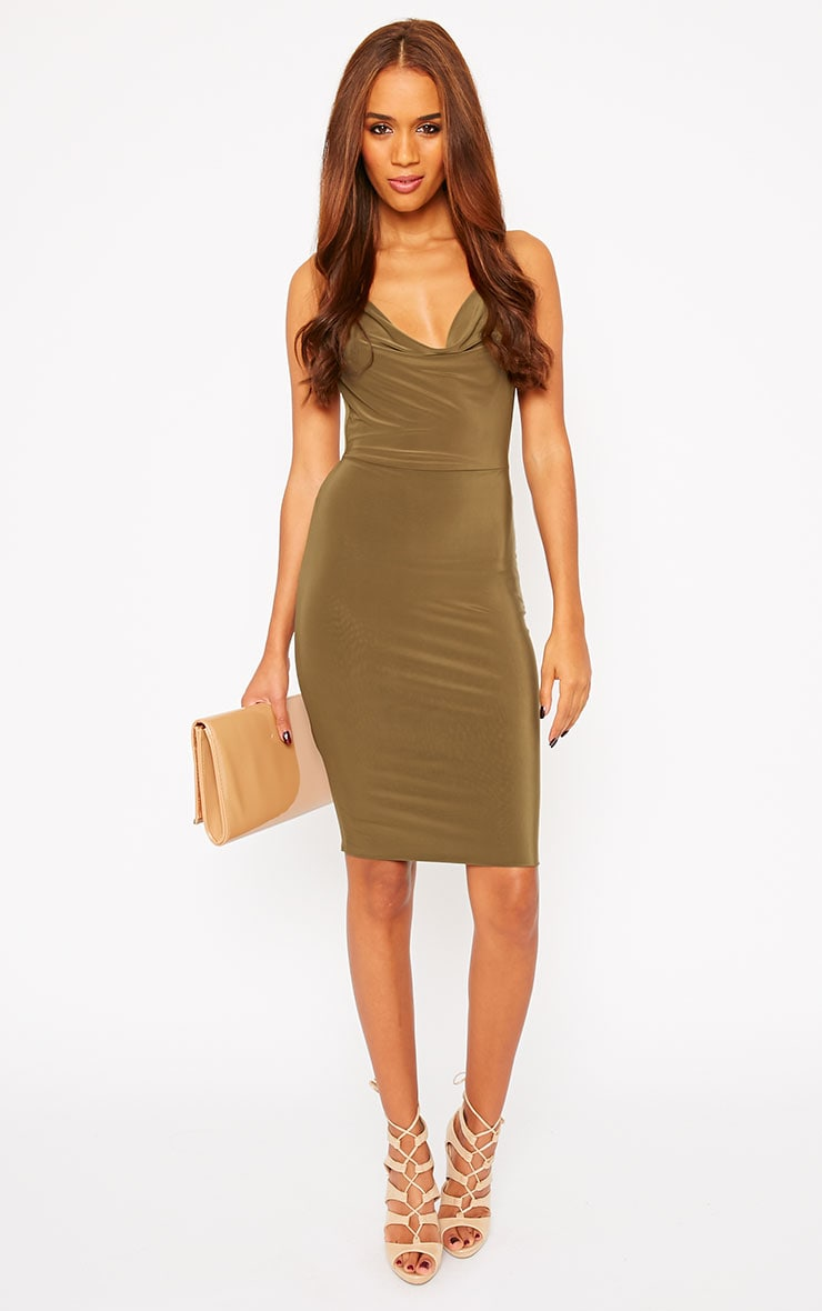 Orion Khaki Slinky Cowl Neck Dress 3