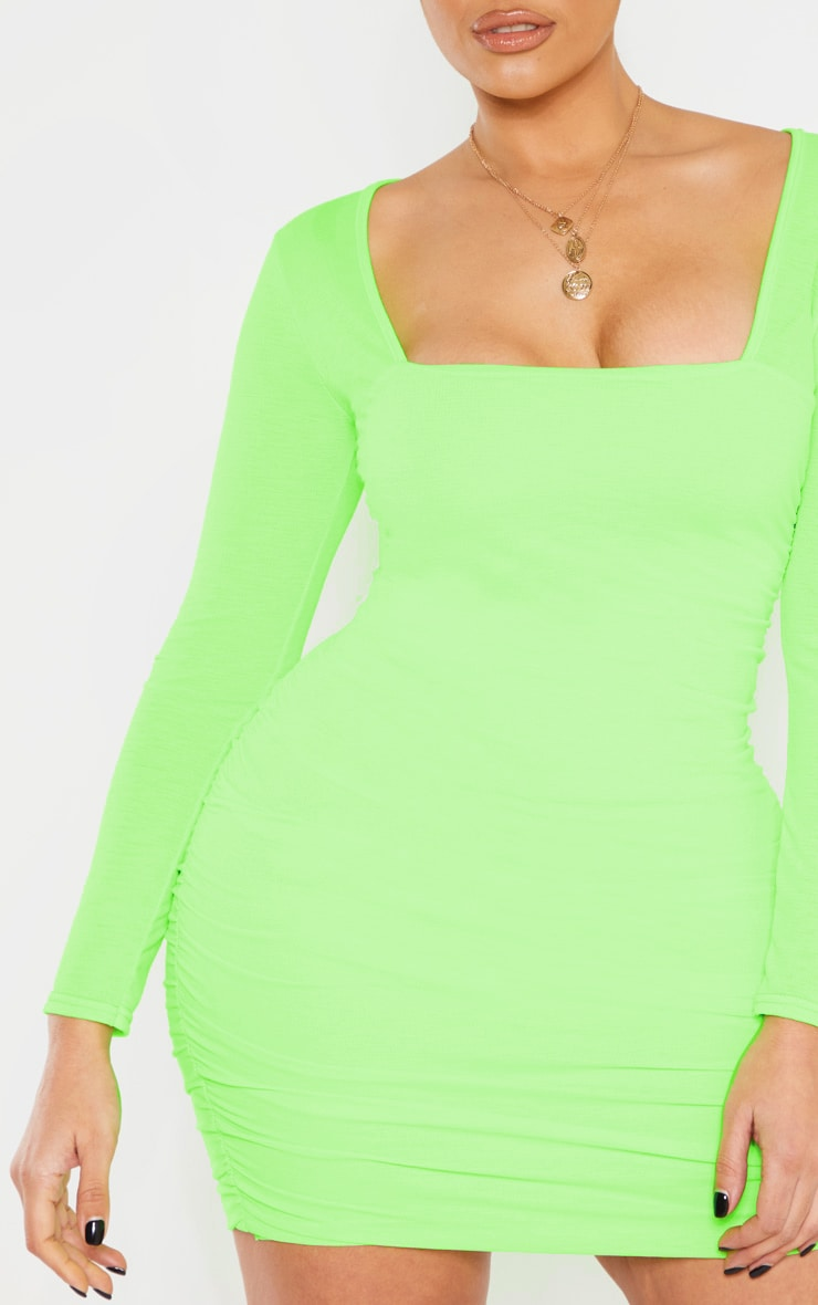 Shape Neon Lime Ruched Square Neck Bodycon Dress 6