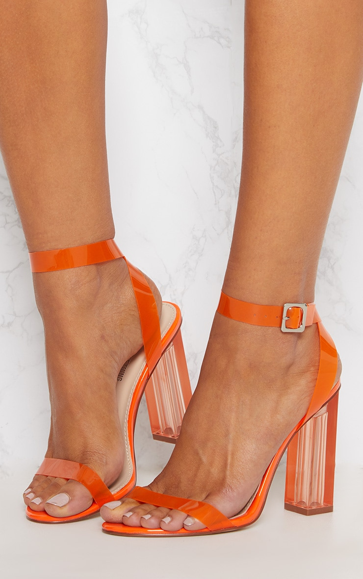 Orange Coloured Clear Strappy Heel 2